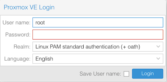 Proxmox login form with oath realm